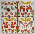 4 Ceramic Coasters in Laura Ashley Woodland Animals